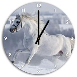 Weißes Pferd auf Schneewiese, Wanduhr Durchmesser 30cm mit schwarzen spitzen Zeigern und Ziffernblatt, Dekoartikel, Designuhr, Aluverbund sehr schön für Wohnzimmer, Kinderzimmer, Arbeitszimmer - 1