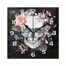 WowPrint Quadratische Wanduhr, Sugar Skull Day of The Dead Acryl, Nicht tickend, dekorative Kunst Malerei für Büro, Klassenzimmer, Schlafzimmer, Wohnzimmer, Badezimmer, Küche Dekor - 1