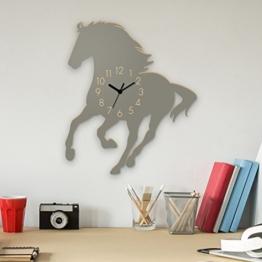 Yourlivingart Wanduhr Mustang-Grau, Pferd aus Holz, Kinderuhr, Uhr für Kinderzimmer - 1