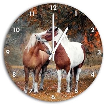 zwei schmusende Pferde, Wanduhr Durchmesser 30cm mit weißen spitzen Zeigern und Ziffernblatt, Dekoartikel, Designuhr, Aluverbund sehr schön für Wohnzimmer, Kinderzimmer, Arbeitszimmer - 1
