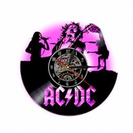 AC DC Rock Band Musik-Wanduhr aus Vinyl mit LED-Wandbeleuchtung 7 Farben wechselnd Vintage LP-Plattendekoration-handgefertigte Lampe - 1