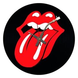 BottleClocks Wanduhr aus Vinyl, Motiv Rolling Stones Mouth - 1