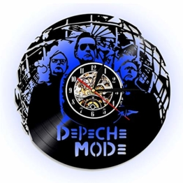 ccww 8Depeche Mode Vinyl Record Wall Clock, Creative Retro Led Large Wall Sticker Kitchen Bedroom Lobby Office Living Room (Black 12 Inches/30 cm) - 1