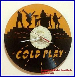 """'Coldplay–Gelb–Wanduhr aus Vinyl """"Das discologio gearbeitet und durchbrochenes–Handarbeit Made in Italy–mit Mechanismus–jedes Stück ist einzigartig, da es kann' haben Unterschiede auch unsichtbar, und für die handwerkliche und für die Scheibe verwendet in Verwirklichung. - 1"""