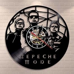 Depeche Mode Muster Schallplatte Wanduhr Runde Hohl Vinyl Material Dekoration Uhr für Kinder Schlafzimmer, Wohnzimmer, Küche, Bad - 1