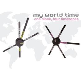 DESIGNER Weltzeituhr Wanduhr 4 Zonen Weltuhr My World Time schwarz/pink - 1