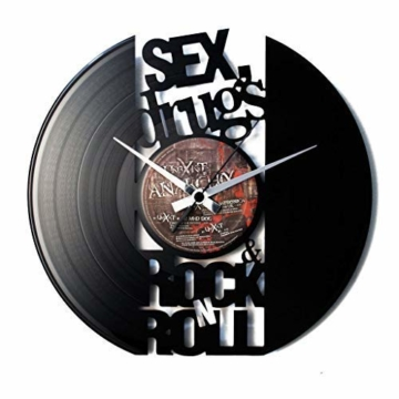 DISCOCLOCK - SEX, DRUGS & ROCK'N'ROLL - Wanduhr aus Vinyl Schallplattenuhr mit ROLLING STONES motiv- Upcycling Design Uhr Wand-Deko Vintage-Uhr Retro-Uhr MADE IN ITALY - Schnelle lieferung 24 st.! - 1