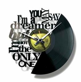 Disc'O'Clock Wanduhr aus Vinyl LP 33 Leise Imagine - Geschenkidee für Fan von John Lennon & Beatles - 1