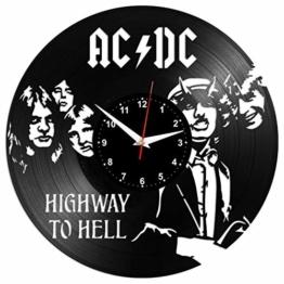 EVEVO AC-DC ACDC Wanduhr Vinyl Schallplatte Retro-Uhr groß Uhren Style Raum Home Dekorationen Tolles Geschenk Wanduhr AC-DC ACDC - 1
