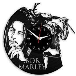 EVEVO Bob Marley Wanduhr Vinyl Schallplatte Retro-Uhr groß Uhren Style Raum Home Dekorationen Tolles Geschenk Wanduhr Bob Marley - 1