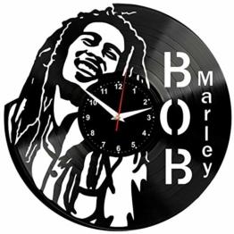 EVEVO Bob Marley Wanduhr Vinyl Schallplatte Retro-Uhr Handgefertigt Vintage-Geschenk Style Raum Home Dekorationen Tolles Geschenk Wanduhr Bob Marley - 1