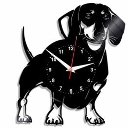 EVEVO Dackel Hund Wanduhr Vinyl Schallplatte Retro-Uhr groß Uhren Style Raum Home Dekorationen Tolles Geschenk Wanduhr Dackel Hund - 1