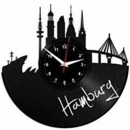 EVEVO Hamburg Wanduhr Vinyl Schallplatte Retro-Uhr groß Uhren Style Raum Home Dekorationen Tolles Geschenk Wanduhr Hamburg - 1