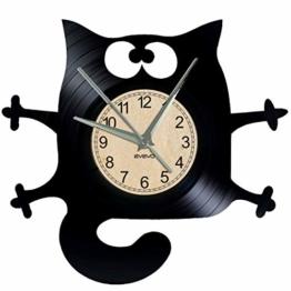 EVEVO Katze Wanduhr Vinyl Schallplatte Retro-Uhr groß Uhren Style Raum Home Dekorationen Tolles Geschenk Wanduhr Katze - 1