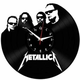 EVEVO Metallica Wanduhr Vinyl Schallplatte Retro-Uhr Handgefertigt Vintage-Geschenk Style Raum Home Dekorationen Tolles Geschenk Wanduhr Metallica - 1