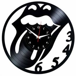 EVEVO Rolling Stones Wanduhr Vinyl Schallplatte Retro-Uhr Handgefertigt Vintage-Geschenk Style Raum Home Dekorationen Tolles Geschenk Wanduhr Rolling Stones - 1