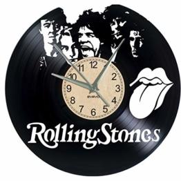 EVEVO The Rolling Stones Wanduhr Vinyl Schallplatte Retro-Uhr groß Uhren Style Raum Home Dekorationen Tolles Geschenk Wanduhr The Rolling Stones - 1