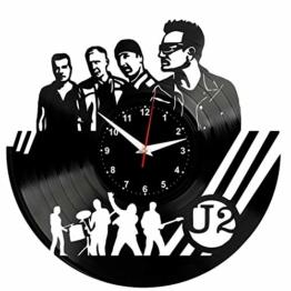 EVEVO U2 Wanduhr Vinyl Schallplatte Retro-Uhr Handgefertigt Vintage-Geschenk Style Raum Home Dekorationen Tolles Geschenk Wanduhr U2 - 1