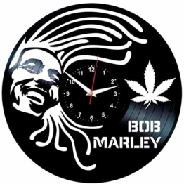 EVEVO Wanduhr Vinyl Schallplatte Retro-Uhr groß Uhren Style Raum Home Dekorationen Tolles Geschenk Wanduhr Bob Marley - 1