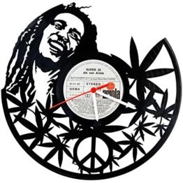 GRAVURZEILE Bob Marley Design Wanduhr aus Vinyl Schallplattenuhr im Upcycling Design Uhr Wand-Deko Vintage-Uhr Wand-Dekoration Vinyl-Uhr Retro-Uhr Made in Germany - 1