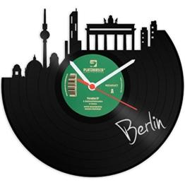 GRAVURZEILE Skyline Berlin Wanduhr aus Vinyl Schallplattenuhr Upcycling Design Uhr Vinyl-Uhr Wand Deko Vintage-Uhr Wand-Dekoration Retro-Uhr Made in Germany - 1