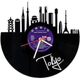 GRAVURZEILE Skyline Tokyo Wanduhr aus Vinyl Schallplattenuhr Upcycling Design Uhr Wand-Deko Vintage-Uhr Wand-Dekoration Retro-Uhr Made in Germany - 1