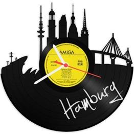 GRAVURZEILE Wanduhr aus Vinyl Schallplattenuhr Skyline Hamburg 2018 Upcycling Design Uhr Wand-Deko Vintage-Uhr Wand-Dekoration Retro-Uhr Made in Germany - 1