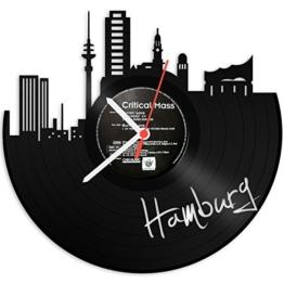GRAVURZEILE Wanduhr aus Vinyl Schallplattenuhr Skyline Hamburg Upcycling Design Uhr Wand-Deko Vintage-Uhr Wand-Dekoration Retro-Uhr Made in Germany - 1