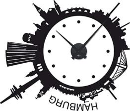 GRAZDesign 800206_BK_070 Wanduhr Wandtattoo mit Uhrwerk für Wohnzimmer Skyline Hamburg Rund Kreis (67x57cm//070 Schwarz//Uhrwerk Schwarz) - 1