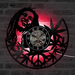 GuoEY 12 inches Hohle Runde Bob Marley Quarz CD Wanduhr Kreative Antiken Stil Dekorative LED Uhr Vinyl Record Clock Room Decor - 1