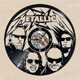 Heavy Metal Metallica Band Musican Vinyl Schallplatte Wanduhren, Musikthema Retro Decor Silent Mechanism Wanduhr Kunst Geschenk - 1