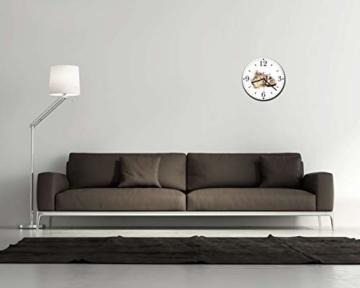 Homeyourself LAUTLOSE Runde Wanduhr Katze weiß aus Metall Alu-Verbund lautlos Uhrwerk rund modern Dekoschild Bild 30 x 30cm - 2