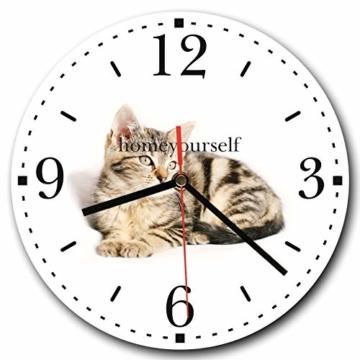 Homeyourself LAUTLOSE Runde Wanduhr Katze weiß aus Metall Alu-Verbund lautlos Uhrwerk rund modern Dekoschild Bild 30 x 30cm - 1