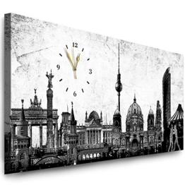 Julia-Art Bilder - Berlin Leinwandbild - 100 X 40 cm Wandbild mit Uhr - Wanduhr Geräuschlos - Küchenuhr Kunstdruck xxl Panorama - Fertigbild sofort aufhängbar Wu-12a-4 - 1