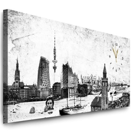 Julia-Art Bilder - Hamburg Leinwandbild - 100 X 40 cm Wandbild mit Uhr - Wanduhr Geräuschlos - Küchenuhr Kunstdruck xxl Panorama - Fertigbild sofort aufhängbar Wu-12a-13 - 1