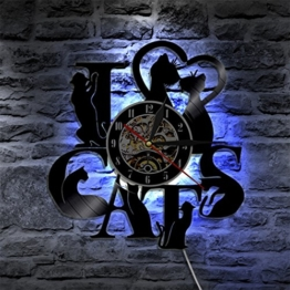 Justdolife Wanduhr Dekor Uhr Bunte LED Licht Kreative Hängende Uhr Wand Dekor mit Fernbedienung - 1