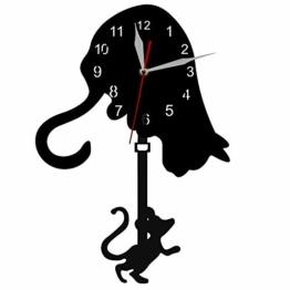 Katze und Maus Pendel Uhr Katze und Maus Spiel Wand Kunst Wanduhr Hunter Katze Moderne Wand Dekor Uhr Uhr Katze Haustier Besitzer Geschenk - 1
