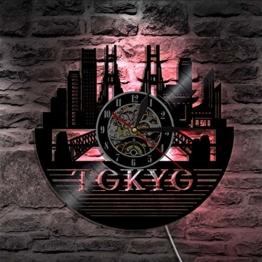 Knncch 1 Stück Tokyo Skyline Vinyl Record Wanduhr Japanische Wandkunst Stadtbild Zeit Uhr Moderne Lp Uhr Handgemachtes Geschenk Für Reisenden - 1