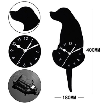 Kreative Cartoon Hund Wanduhr, Gusspower Kinderzimmer Wohnkultur uhr Weise Wasserdicht Stumm Acryl, Schwanz Wackeln Bewegen Schweigen (A) - 2