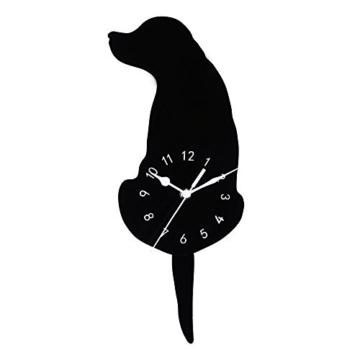 Kreative Cartoon Hund Wanduhr, Gusspower Kinderzimmer Wohnkultur uhr Weise Wasserdicht Stumm Acryl, Schwanz Wackeln Bewegen Schweigen (A) - 1