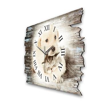 Kreative Feder Tierliebe Hund Katze Shabby Style Designer Wanduhr Funkuhr aus Holz *Made in Germany leise ohne Ticken WH016FL - 2