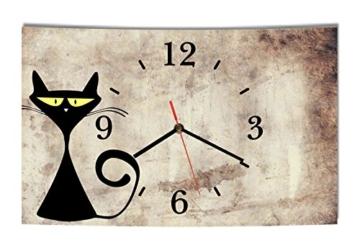 LAUTLOSE Designer Wanduhr Katze beige braun lustig modern Dekoschild Abstrakt Bild 39 x 25cm - 1