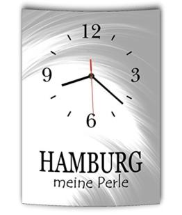 LAUTLOSE Designer Wanduhr mit Spruch Hamburg meine Perle grau weiß modern Dekoschild Schild Deko Bild 41 x 28cm Abstrakt - 1