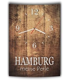 LAUTLOSE Designer Wanduhr mit Spruch Hamburg meine Perle Holz Holzoptik modern Deko schild Abstrakt Bild 41 x 28cm - 1