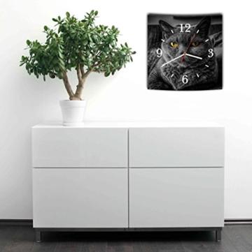 LAUTLOSE Designer Wanduhr mit Spruch Katze schwarz grau weiß modern Dekoschild Abstrakt Bild 29,5 x 28cm - 2