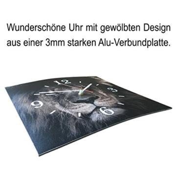 LAUTLOSE Designer Wanduhr mit Spruch Katze schwarz grau weiß modern Dekoschild Abstrakt Bild 29,5 x 28cm - 3