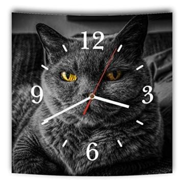 LAUTLOSE Designer Wanduhr mit Spruch Katze schwarz grau weiß modern Dekoschild Abstrakt Bild 29,5 x 28cm - 1