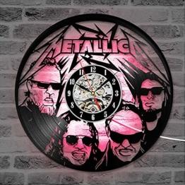 LRRD Metallica Schallplatte Wanduhr Schwarz Hohl CD Rekord Uhr Kreative Wohnkultur Antike Handgemachte Hängende LED Coole Uhr - 1