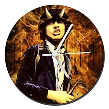 MasTazas ACDC AC/DC Highway to Hell Angus Young Wanduhren Wall Clock 20cm - 1