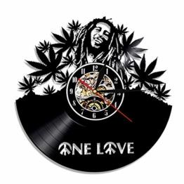mebeaty Vinyl-Schallplatte Wanduhr Bob-Marley Runde Hohl Vinyl-Material Dekoration Uhr für Kinder Schlafzimmer, Wohnzimmer, Küche, Bad, 12 '', 0801 - 1